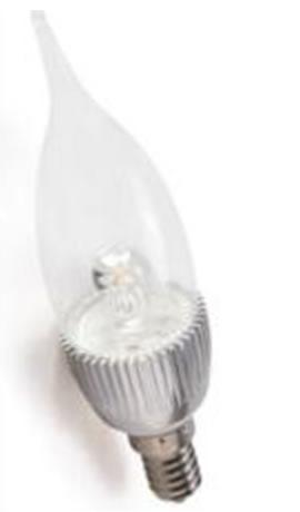 E14F3TBY :: AMPOULE LED FLAMME E14 3W TRANSPARENTE COUP DE VENT BLANC CHAUD