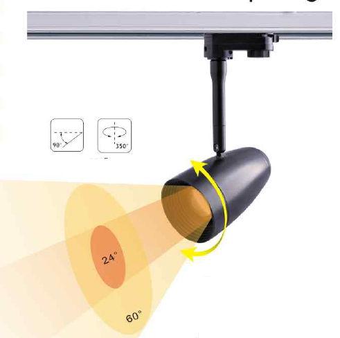 TRA15BY-PROJECTEUR LED BLANC CHAUD 15W ANGLE 24-60 DEGRES POUR RAIL :: + infos - Devis