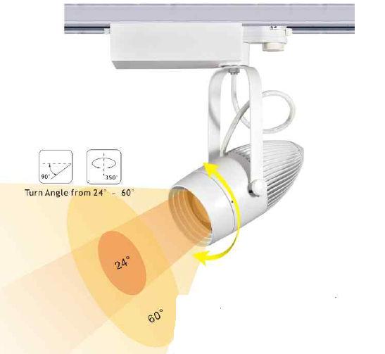 TRA20FY-PROJECTEUR LED BLANC CHAUD 20W ANGLE 24-60 DEGRES POUR RAIL :: + infos - Devis