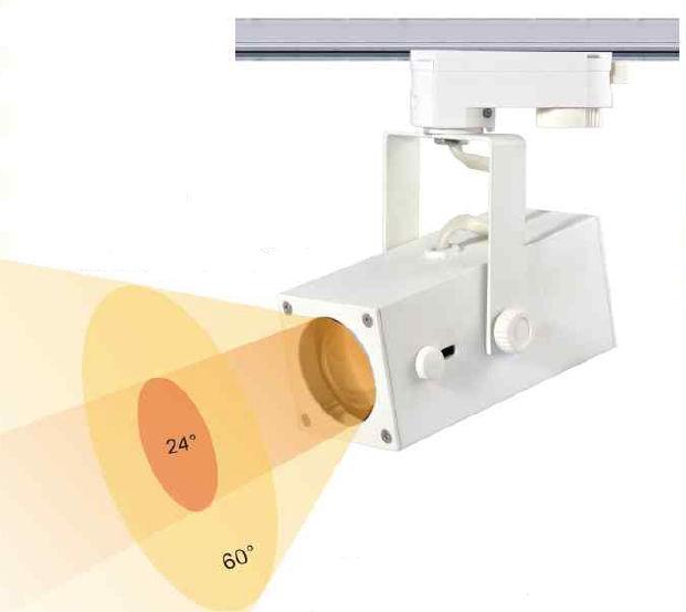 TRA15TY-PROJECTEUR LED BLANC CHAUD 15W ANGLE 24-60 DEGRES POUR RAIL :: + infos - Devis