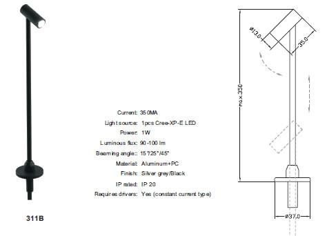 BIJA311BZ :: SPOT LED SUR TIGE VERTICALE POUR BIJOUTERIE BLANC NATUREL