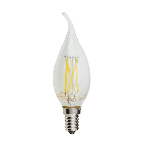 1480 :: AMPOULE LED E14  FLAMME TORSADEE COUP DE VENT  C35T BLANC PUR 4W