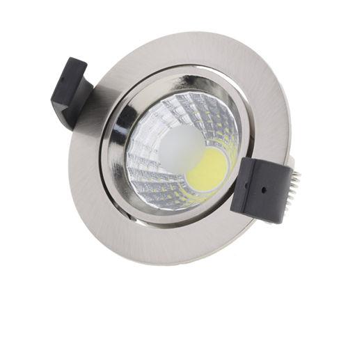3205-PLAFONNIER LED COB ENCASTRABLE INOX ORIENTABLE 8W BLANC CHAUD :: + infos - Devis