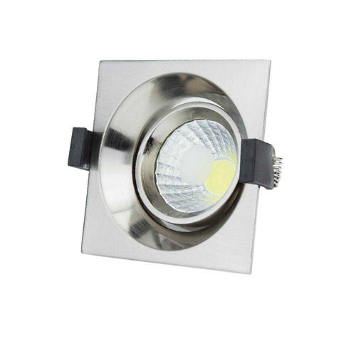 3224 :: PLAFONNIER LED COB ENCASTRABLE INOX ORIENTABLE 8W BLANC NATUREL