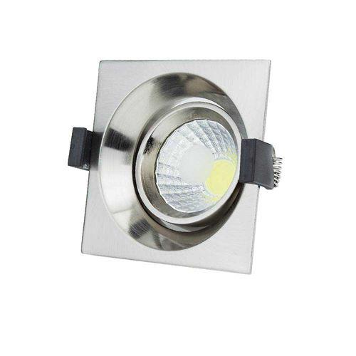 3225-PLAFONNIER LED COB ENCASTRABLE INOX ORIENTABLE 8W BLANC CHAUD :: + infos - Devis