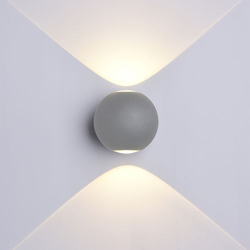 7495-LAMPE MURALE CORPS GRIS IP54 BLANC CHAUD :: + infos - Devis