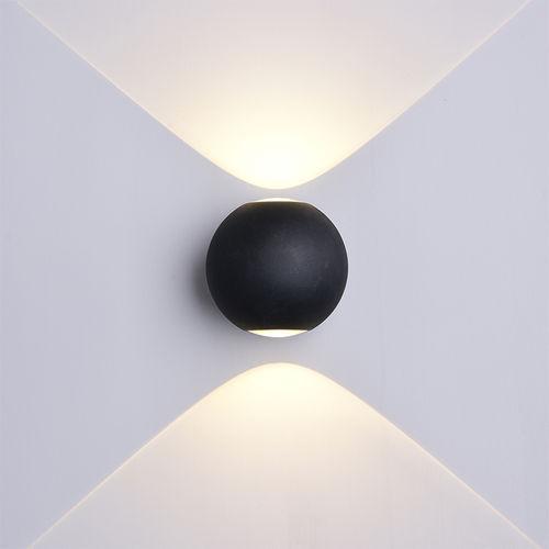 7497 :: LAMPE MURALE CORPS NOIR IP54 BLANC NATUREL