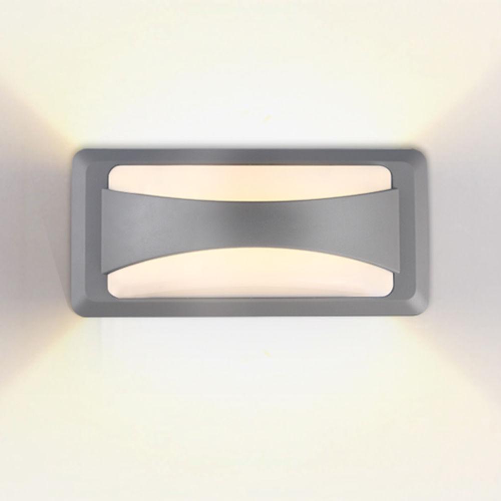 7526 :: LAMPE MURALE CORPS GRIS IP65 BLANC CHAUD