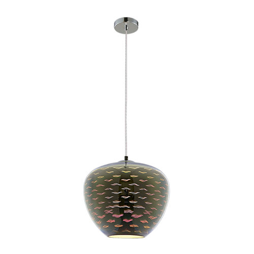 9023 :: SUSPENSION EN VERRE 3D CHROME  D290XH250MM