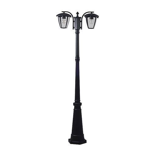 9313 :: LAMPE PELOUSE 200CM ALUMINIUM  NOIR POUR 2 AMPOULES E27