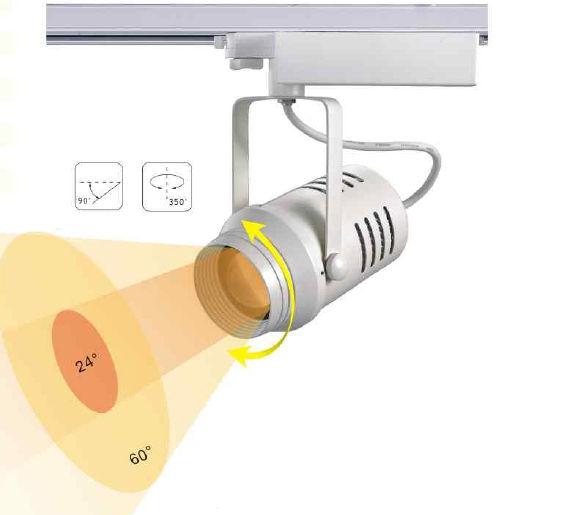 TRA30AY :: PROJECTEUR LED BLANC CHAUD 30W ANGLE 24-60 DEGRES POUR RAIL