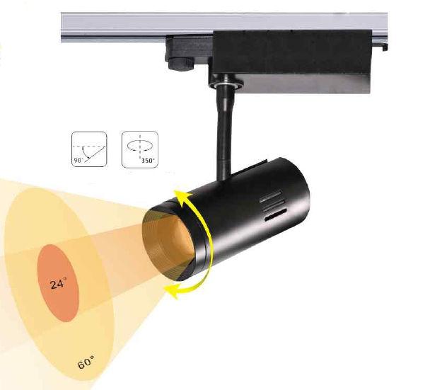 TRA20CY :: PROJECTEUR LED BLANC CHAUD 20W ANGLE 24-60 DEGRES POUR RAIL