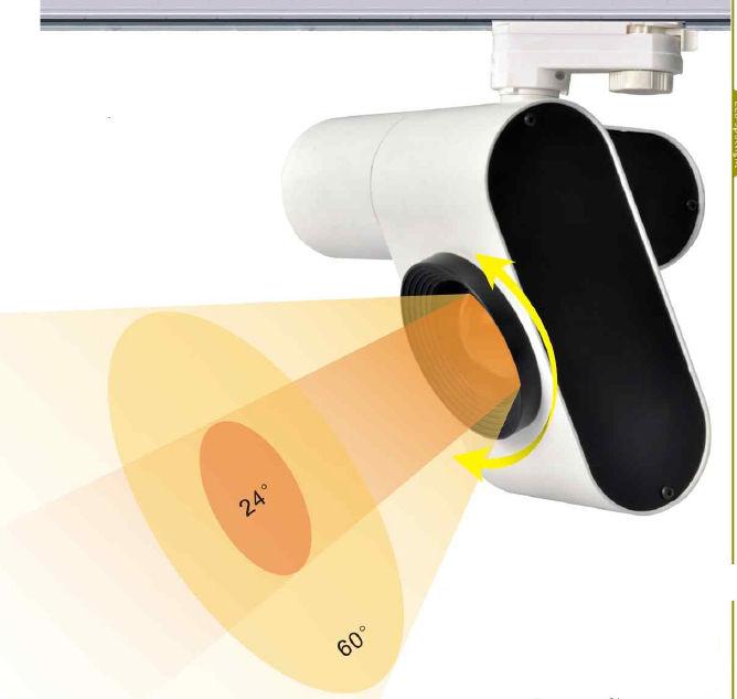 TRA20MY :: PROJECTEUR LED BLANC CHAUD 20W ANGLE 24-60 DEGRES POUR RAIL