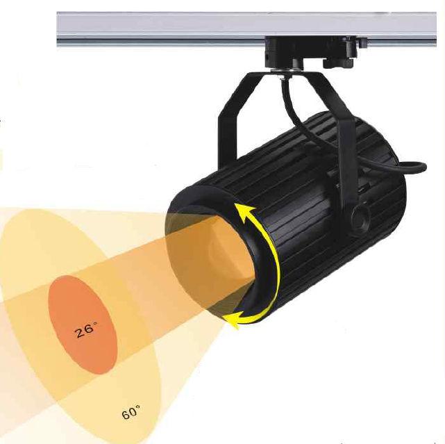 TRA70PY :: PROJECTEUR LED BLANC CHAUD 70W ANGLE 24-60 DEGRES POUR RAIL
