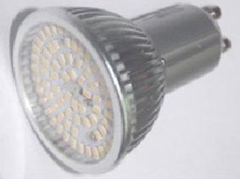 GU10S5PY :: SPOT LED GU10 5W GRAND ANGLE 80SMD BLANC CHAUD