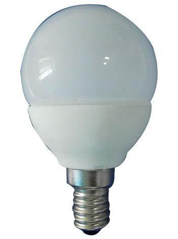 E14R3EY :: AMPOULE LED 3W E14 PETITE RONDE MATE LED BLANC CHAUD