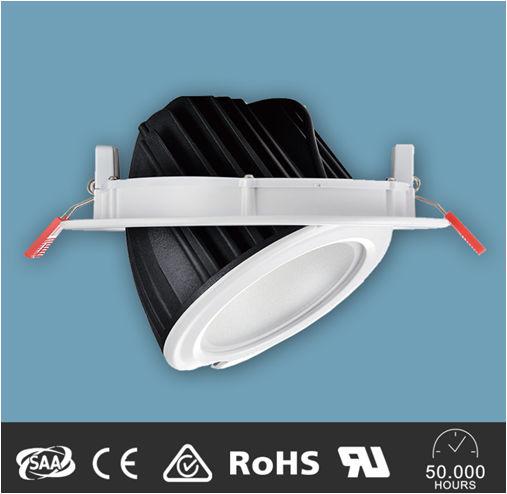 PFD60100Y :: PLAFONNIERS LED ENCASTRABLE ORIENTABLE 60W ANGLE 100 DEGRES BLANC CHAUD DE215